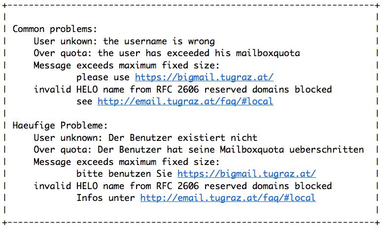Die e mail adresse wurde vom server nicht akzeptiert
